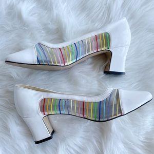 2/25 🍉 vintage rainbow patent mesh heels